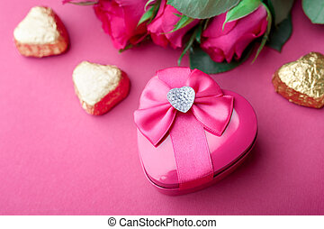 Pink roses and gift. Valentine card.
