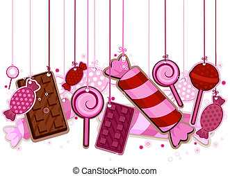 Candies On Strings with Clipping Path