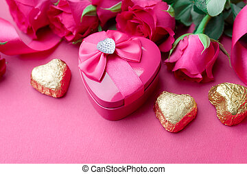Valentines Day gift box with Pink roses and candy