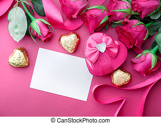 Valentines Day background with hearts and roses.