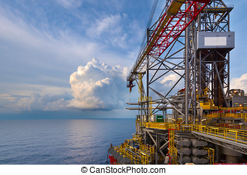 an offshore crane on oil drilling rig