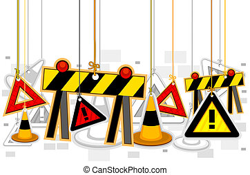 Construction Signs On Strings