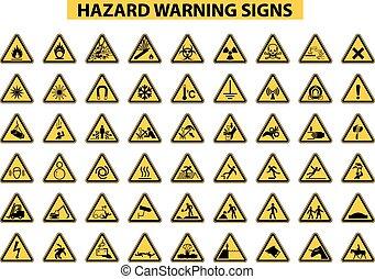 hazard warning signs - set of hazard warning signs on white...