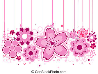 Pink Flowers On Strings with Clipping Path