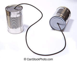 Tin Can Phone - Retro Tin Can Phone Childs Toy on Isolated...