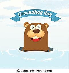 Groundhog day vector greeting card to groundhog day 2...
