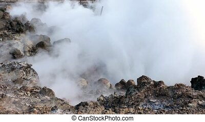 Geothermally active ground - Geothermally active at Iceland,...