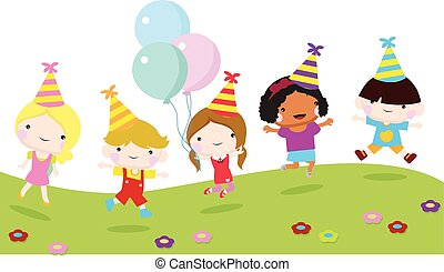 children party with jumping children
