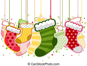 Christmas Stockings On Strings with Clipping Path