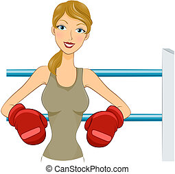 Boxer - Girl in Boxing Gloves with Clipping Path
