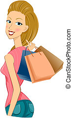 Shopping - Girl Shopping with Clipping Path
