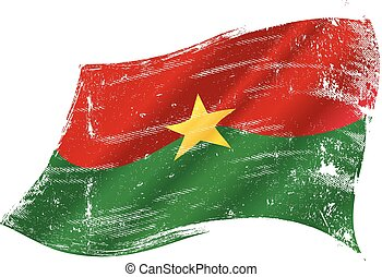 Burkina faso grunge waving flag - A grunge flag of Burkina...