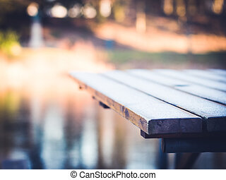 Frost on Wooden Table 4 - A beautiful winter morning in...