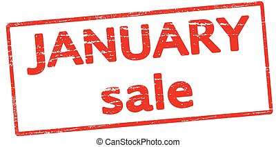 January sale - Rubber stamp with text January sale inside,...