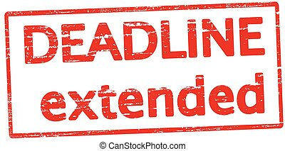 Deadline extended - Rubber stamp with text deadline extended...