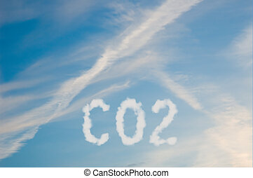 CO2 - An illustration of the text CO2 made up of white puffy...
