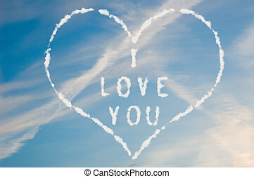 I love you - The letters I love you written with cloud...