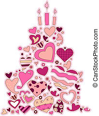 Heart Cake - Heart Doodles forming a cake with Clipping Path