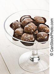 marron glace on glass tray on white table