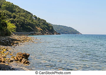Coast of Tyrrhenian Sea on Elba Island, Italy