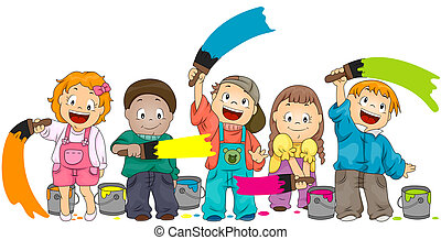 Children Painting with Clipping Path