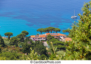 Coast of Tyrrhenian Sea on Elba Island, Italy View to San...