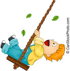 Child on Swing with Clipping Path