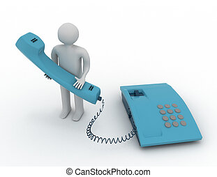 man with phone 3d concept
