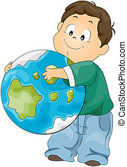 Hugging Globe - Boy hugging Globe with Clipping Path