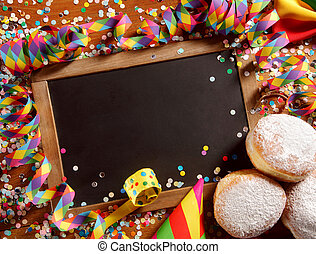 Party border or frame with cookies and confetti - Party...