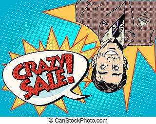 Crazy sale announcement man upside down pop art retro style