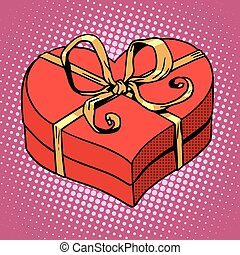 Red gift box in heart shape Love Valentines day and wedding...