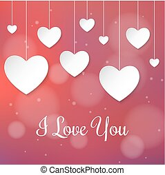 White paper hearts Valentines day card on creative red background