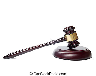 Law concept - Wooden judges gavel isolated on white...