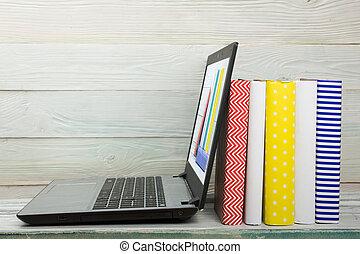 Raum,  Text, begriff,  -,  laptop, buchausleihe, buecher,  digital, E-Lernen, Kopie, Innenseite