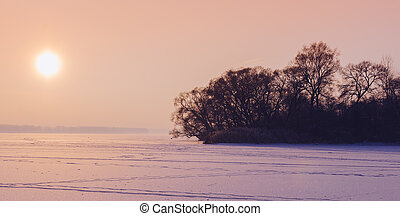 Sunset On The Frozen Lake - Beautiful sunset on the frozen...