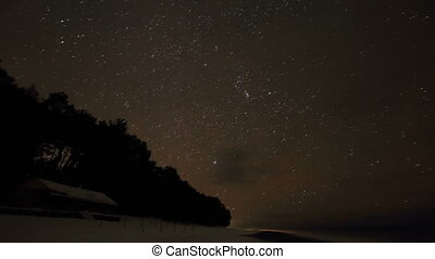 Starry night over the Black Sea Pitsunda, Abkhazia Full HD...