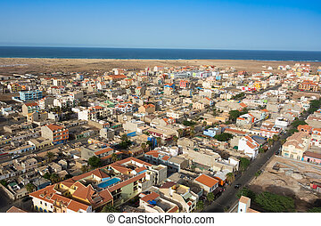 Aerial view of Santa Maria city in Sal Island Cape Verde -...