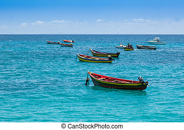 Traditional fisher boat in Santa Maria in Sal Island in Cape...