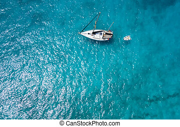 Aerial view Traditional fisher boat in Santa Maria in Sal...