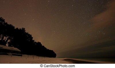 Starry night over the Black Sea. Pitsunda, Abkhazia. Full HD...