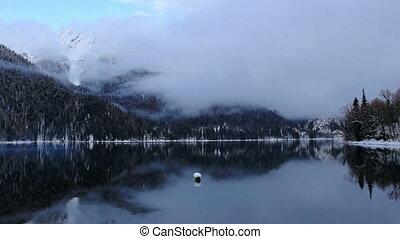 Alpine Lake Ritsa in winter