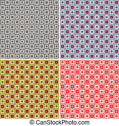Set abstract seamless patterns (vector)