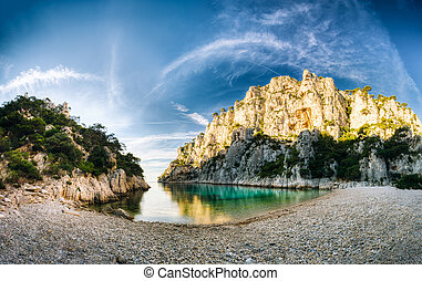 Panorama of nature of Calanques on the azure coast of France...