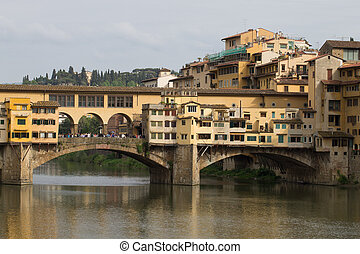 Old bridge,Florence, Italy - Perspective view of Old Bridge,...