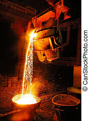 Industry, Steel Mill, Factory, Foun - Liquid Molten Steel...