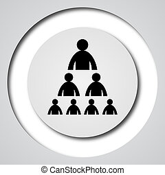 Organizational chart with people icon Internet button on...