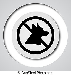 Forbidden dogs icon Internet button on white background
