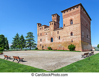 Old castle of Grinzane Cavour, Italy. - Old medieval castle...