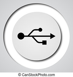 USB icon Internet button on white background
